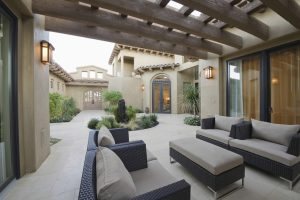 modernized patio with furniture