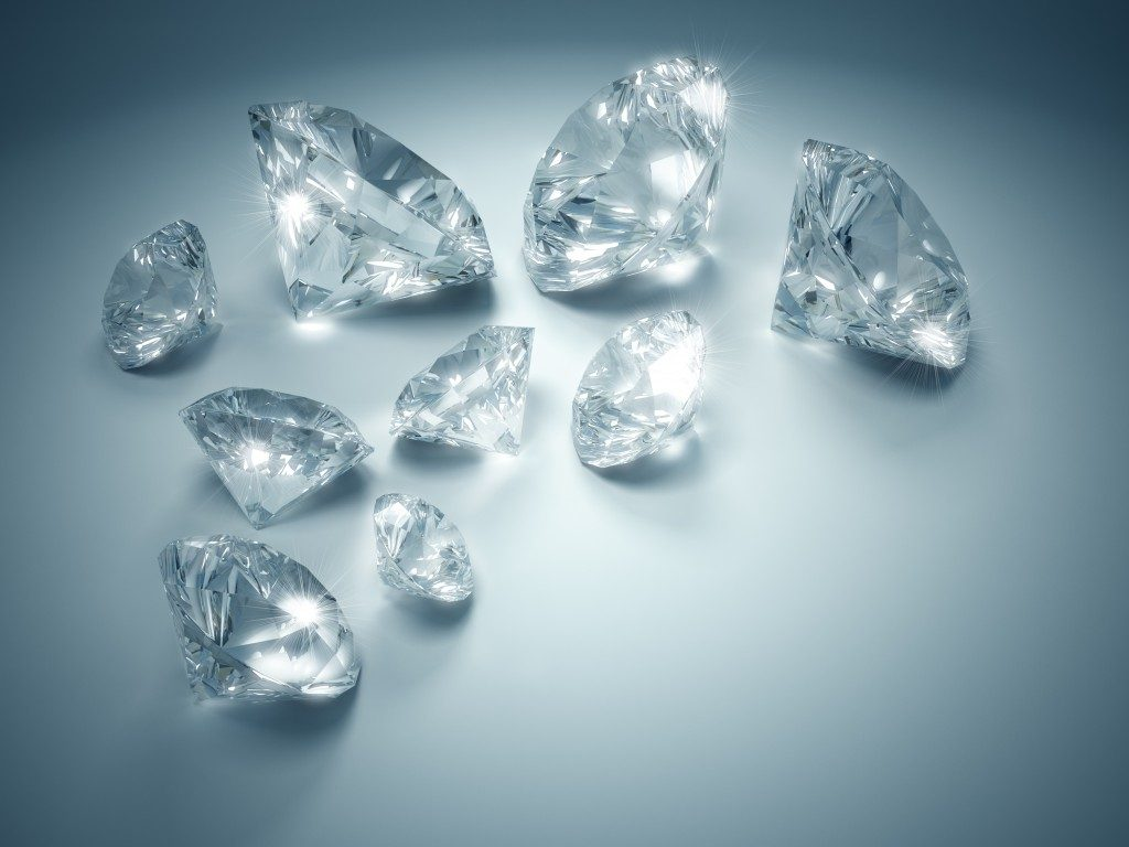 Large diamonds on a white surface