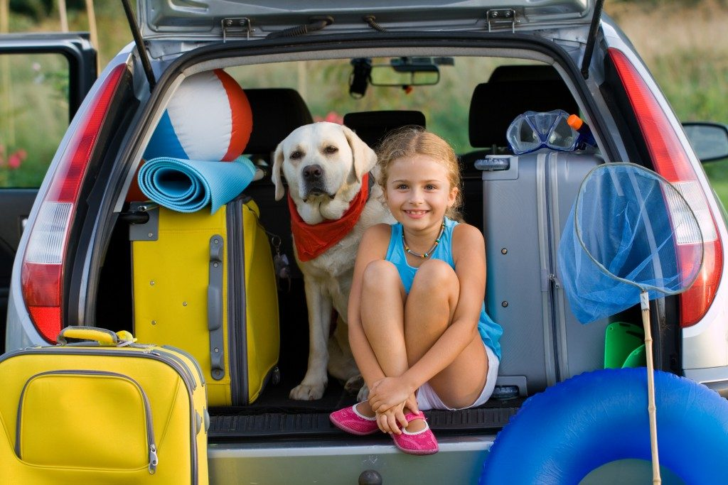 Child and dog with luggages