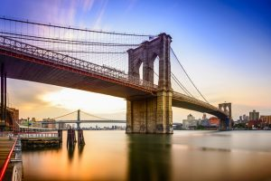 Brooklyn Bridge in New York City at dawn