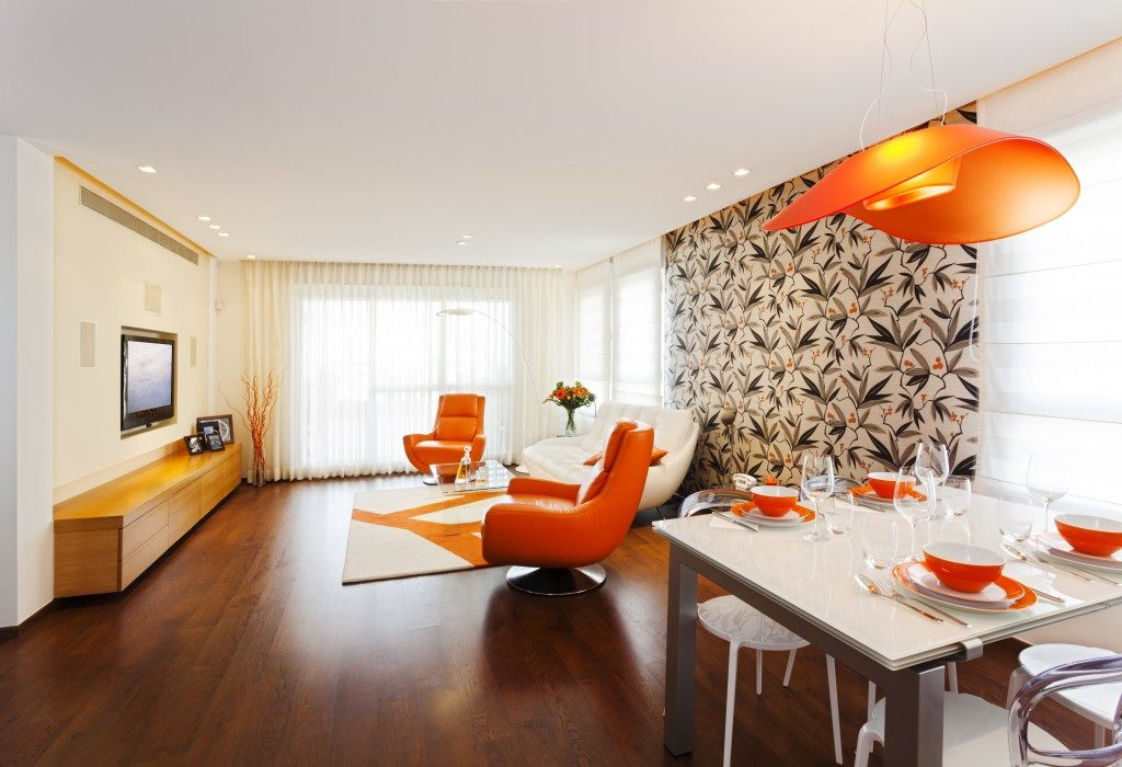 orange retro furniture on wood floor
