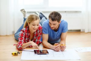 Couple planning home renovation