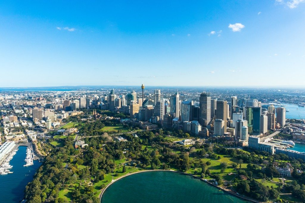 Aerial view Sydney Central Business Districs and Royal Botanic Gardens