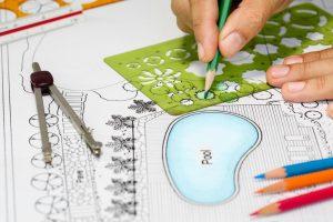 Architect designing backard landscape