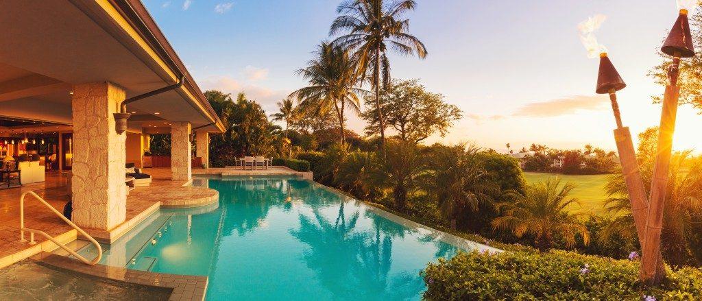 luxurious poolside deck