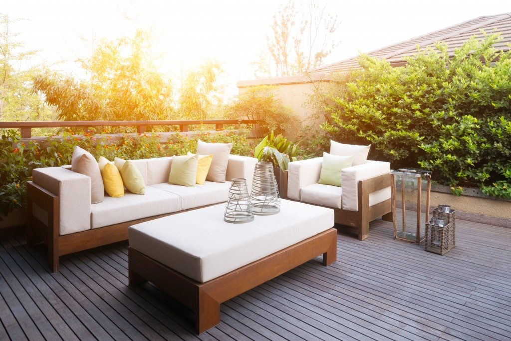 house rooftop with beautiful lounge chairs and sofa