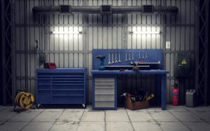 A garage with tools and equipment