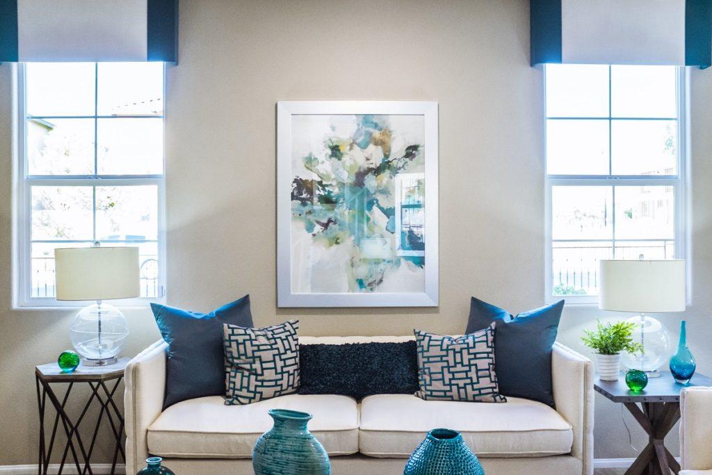 well-lit living room