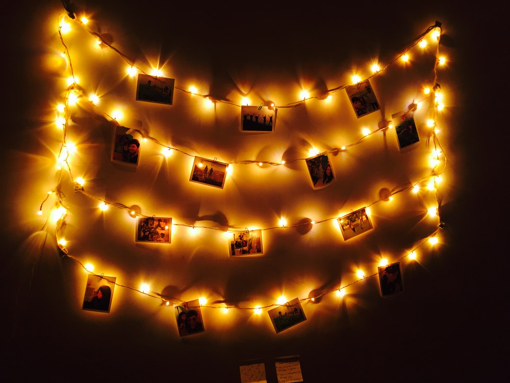 wall gallery with fairy lights