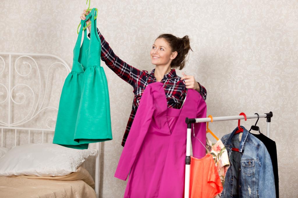 arranging closet